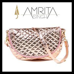 Amrita Singh Metallic Messenger Bag Champagne